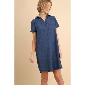 UMGEE Denim Washed Collared Shirt Dress Size Small